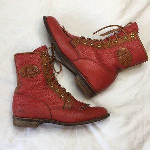 Justin original lace-r red tan lace up cowboy boot